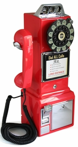 """Mountable 18"""" Red Rotary Pay Phone  [NFS]"""