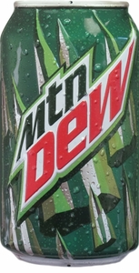 MTN Dew Soda Can Embossed Metal Sign
