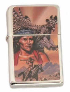 Native American with Hawk Lighter