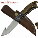 Red Deer Grazer Gutter Full Tang Pakka Wood Handle with Leather Sheath