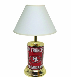San Francisco 49ers License Plate Lamp w/White Shade