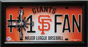 San Francisco Giants License Plate Clock