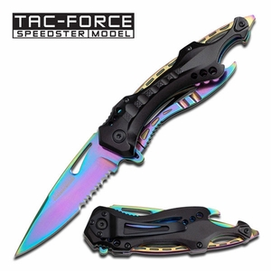 "Tac Force""Thunderbolt"" Assisted Opening Folder- Ti-Spectrum Rainbow"