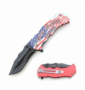 """United We Stand, Divided We Fall"" God Bless America Assisted Opening Tactical Knife"