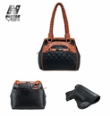 VISM Women's CCW Braided Tote- Black with Brown Trim