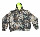 World Famous Sports Tan Burly Camo Sweatshirt with Neon Green Hood Liner- XLarge