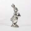 6 Inch Silver Plated Bunny Holding Egg