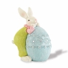 9 inch Resin Bunny Leaning on Blue Egg