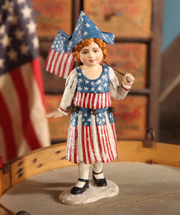 Bethany Lowe Stars and Stripes Girl with Flag