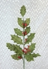 Burlap Holly Tipped with Glitter Christmas Floral Spray