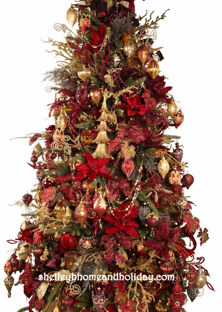 drape christmas garland in a designer decorated tree - Beaded Christmas Garland