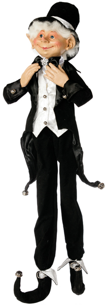 Christmas elf dressed in black tuxedo and top hat