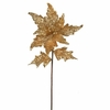 Christmas Gold Poinsettia Glittered Flower Stem