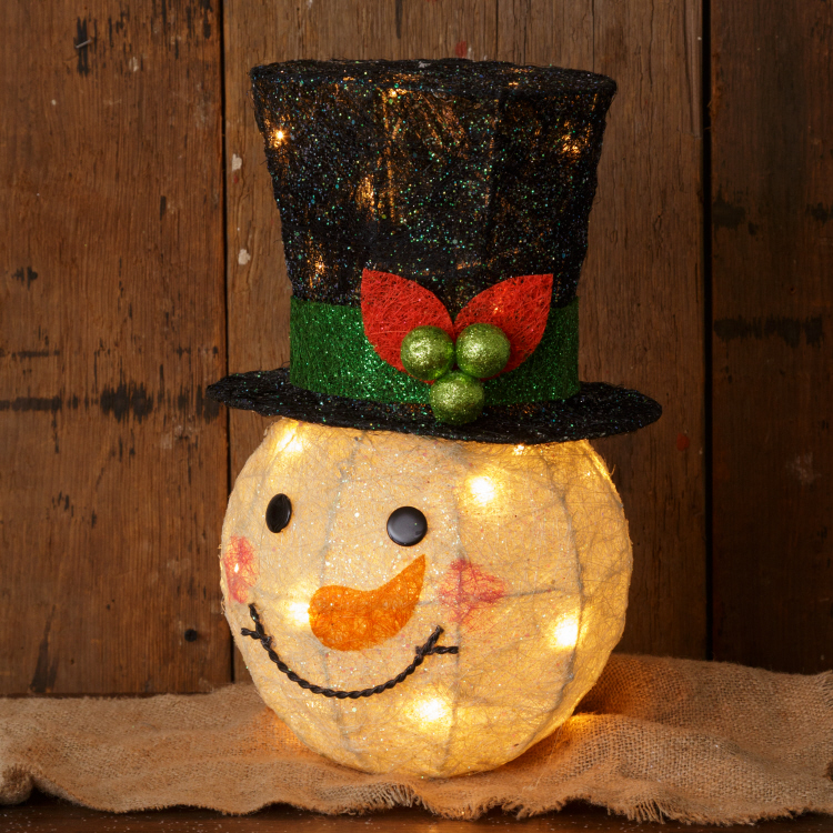 lighted sisal Christmas snowman head Shelley B Home and Holiday