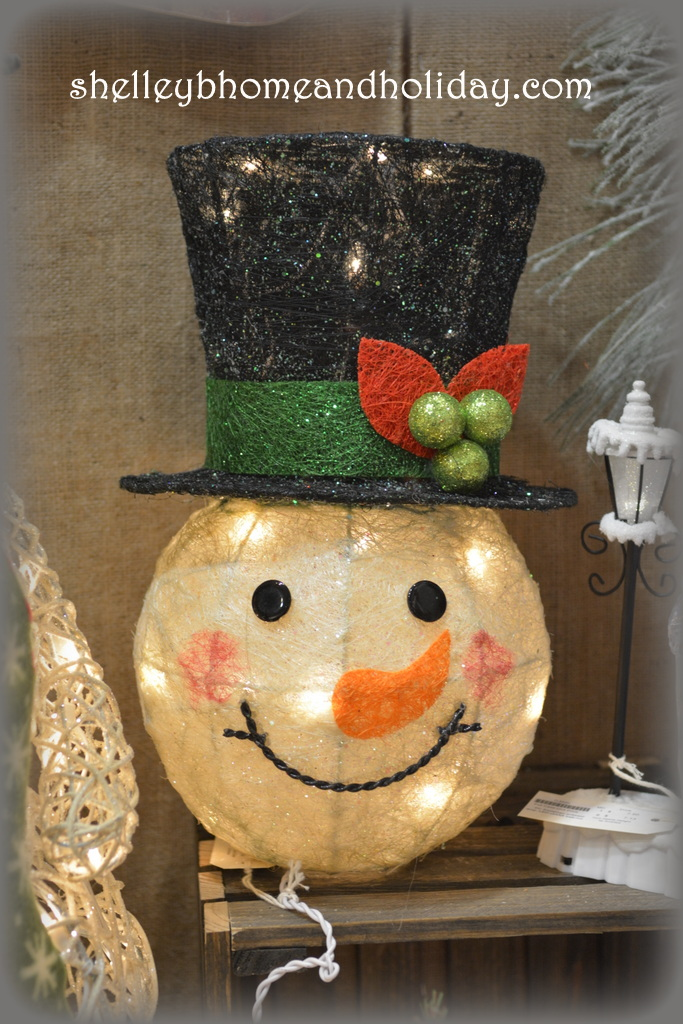 Christmas lighted snowman head decoration