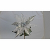 Christmas Poinsettia Stem Silver 24 inches