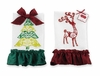 Christmas Towel Set Damask Deer and Tree Linen Towels