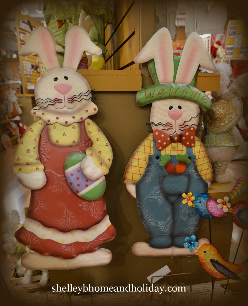 Easter bunny couple garden stakes