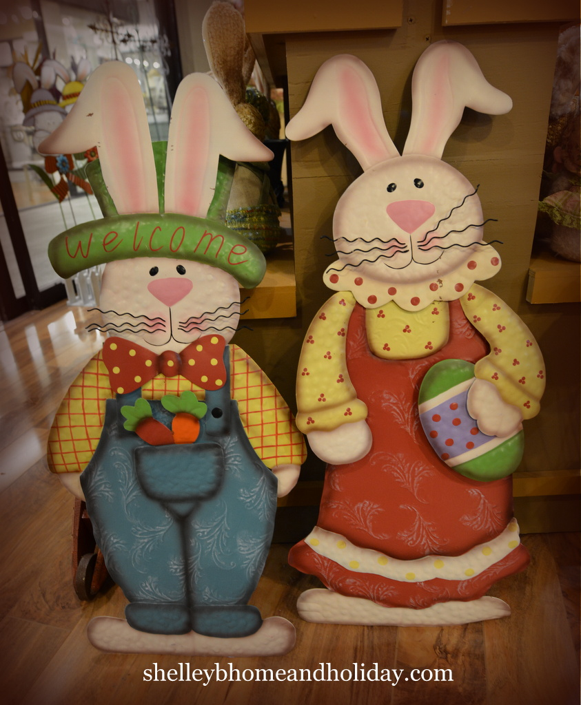 standing metal Easter bunny boy and girl