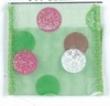 Green Sheer with Pink Green and White Polka Dots Wired Ribbon