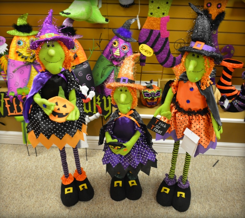 Halloween standing witch decoration with stretch legs