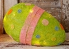 Lighted Green Easter Egg with Polka Dots