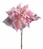 Melrose First Frost Soft Pink Poinsettia Stem with Snow 28 inches