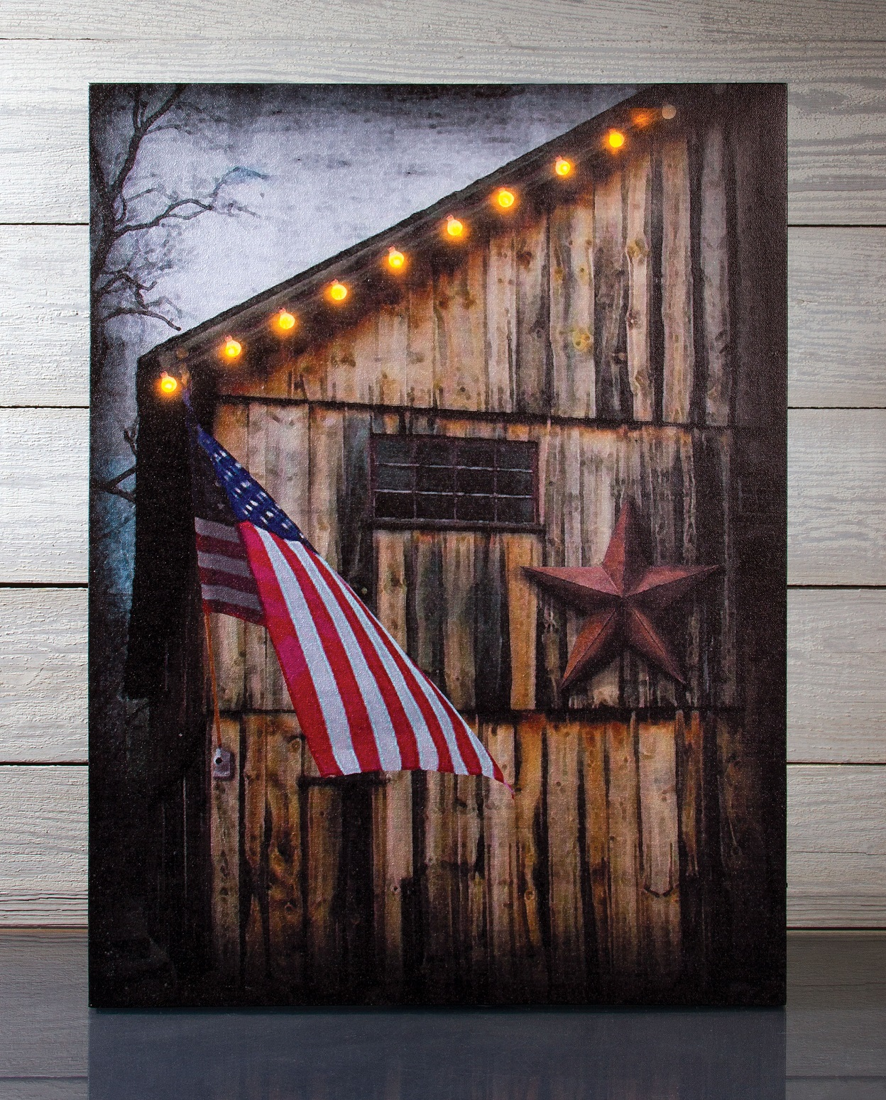 Radiance Lighted Canvas Americana Barn and Flag with timer 12157