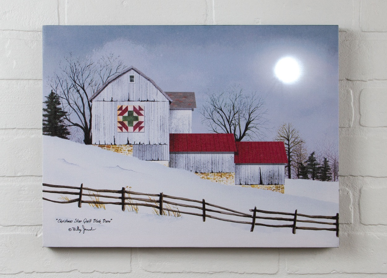 Barn with Quilt Billy Jacobs Radiance Lighted Canvas by Ohio Wholesale