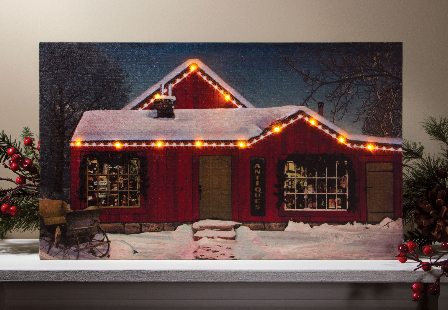 Lighted Picture Shop at Christmas with LED Lights