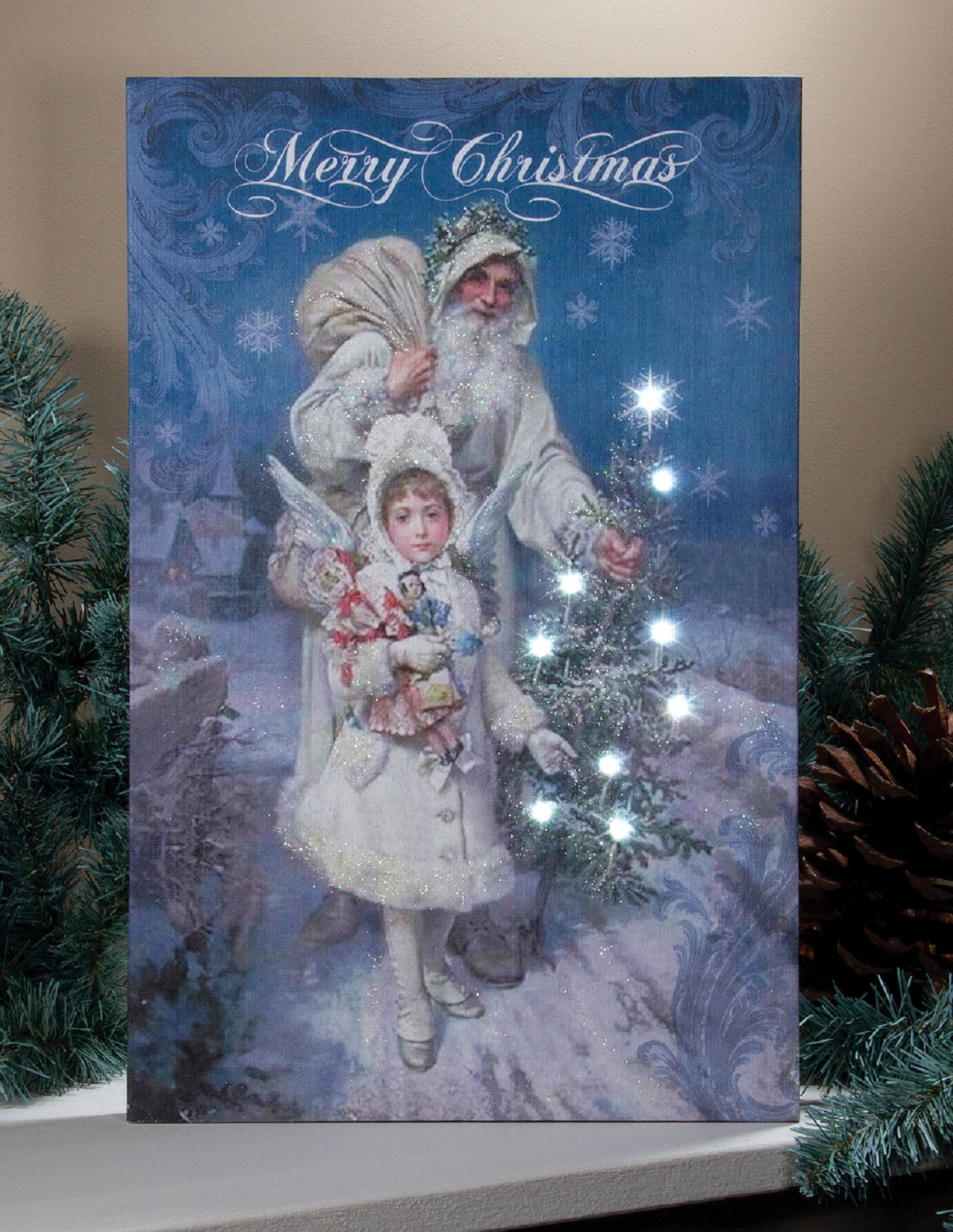 Old fashion Victorian Style Christmas Art Print with Flickering ...