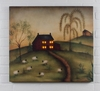 Radiance Lighted Canvas Good Life Folk Art Saltbox House, Sheep, Willow Trees