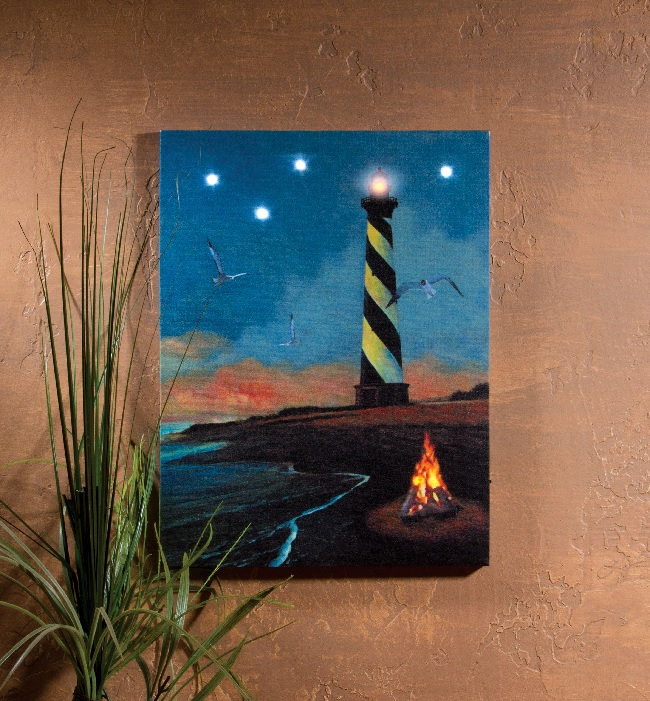 Radiance Lighted Canvas Hatteras Lighthouse with flickering LED lights