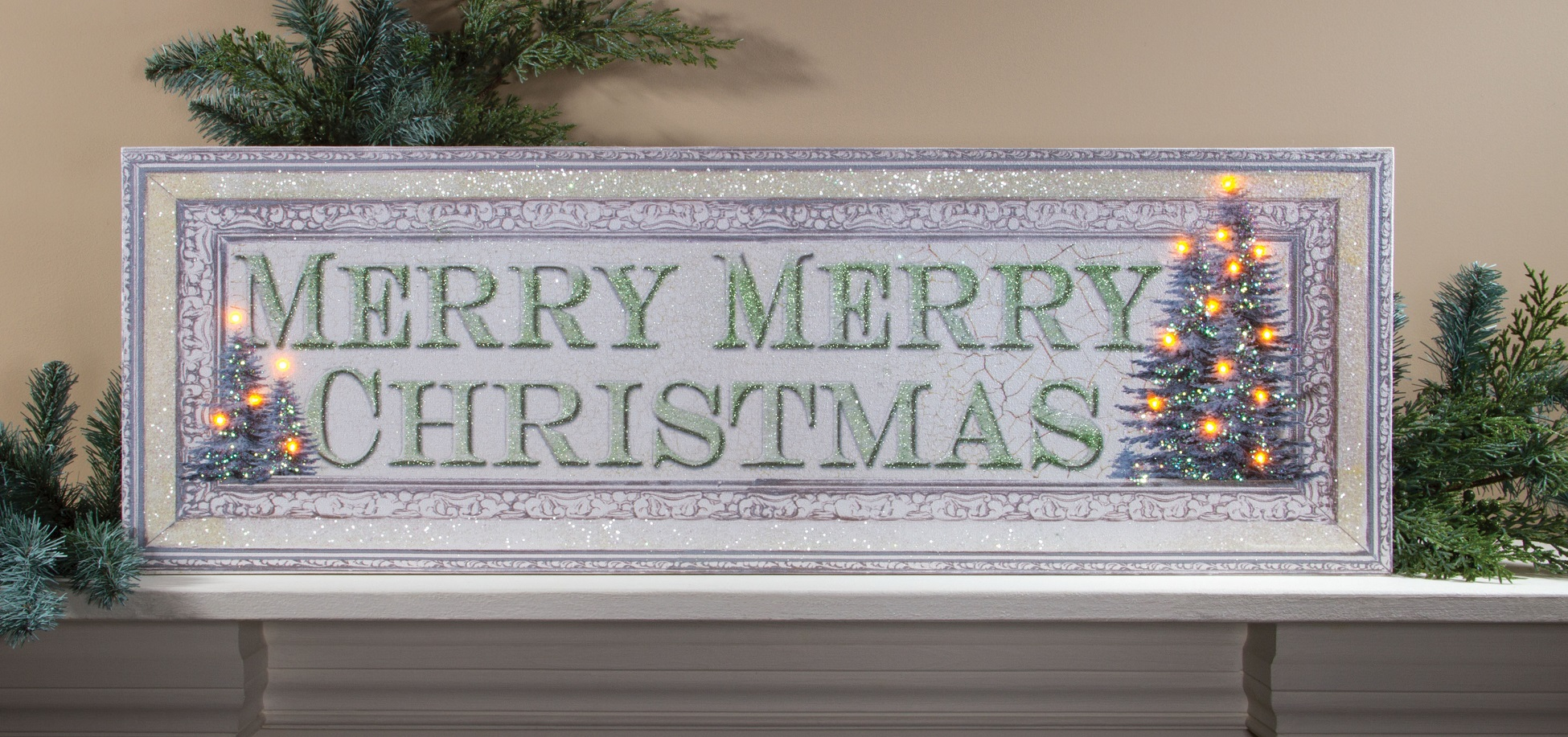 White Merry Christmas Sign with LED Lights