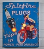 Radiance Lighted Canvas Motorcycle Advertising Sign Spitfire Spark Plugs