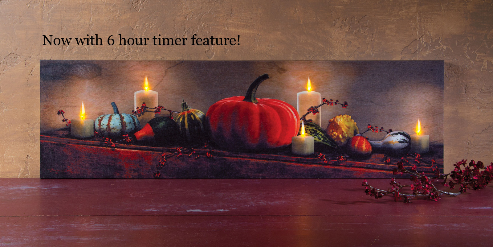 Flickering Light Canvas Pumpkin and Gourd Fall Harvest Display Radiance Lighted canvas