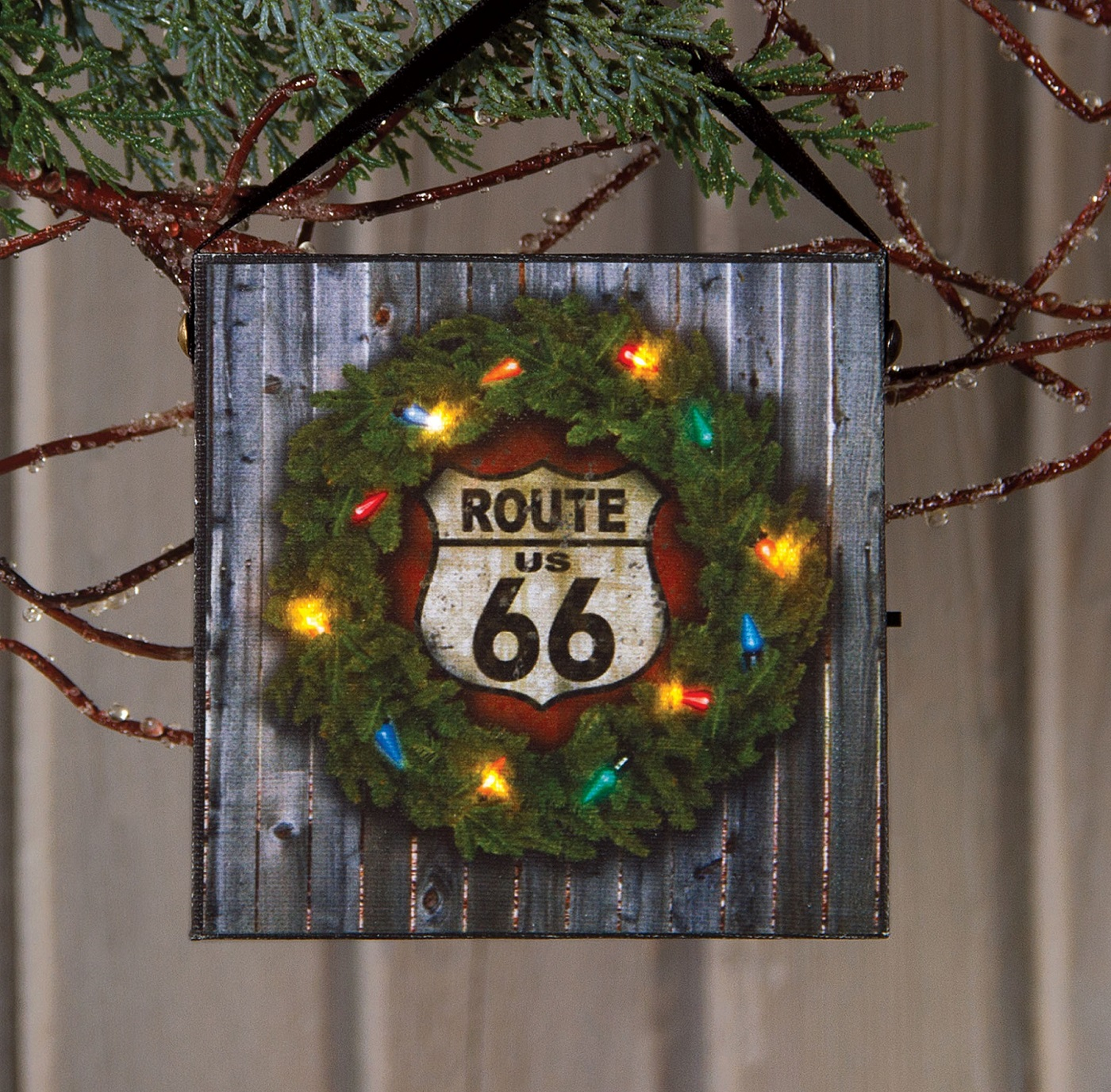 Route 66 Radiance Lighted Canvas Christmas ornament by Ohio Wholesale