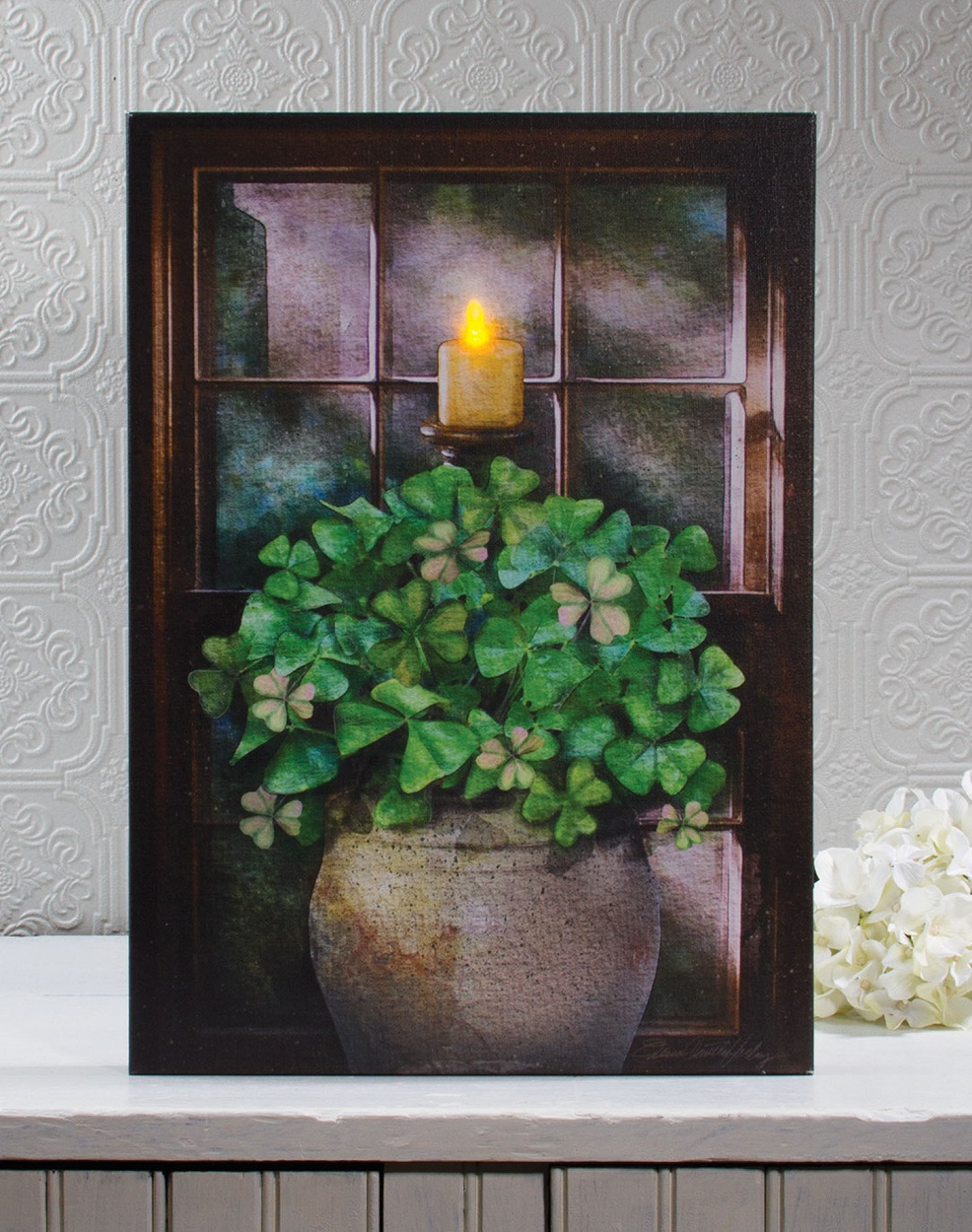 Shamrock and candle wall art