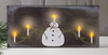 Radiance Lighted Canvas Snowman Candelabra