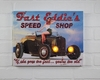 Radiance Lighted Canvas Speed Shop Vintage Car Advertisement