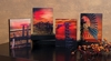 Radiance Lighted Canvas Sunset Farm set of 4