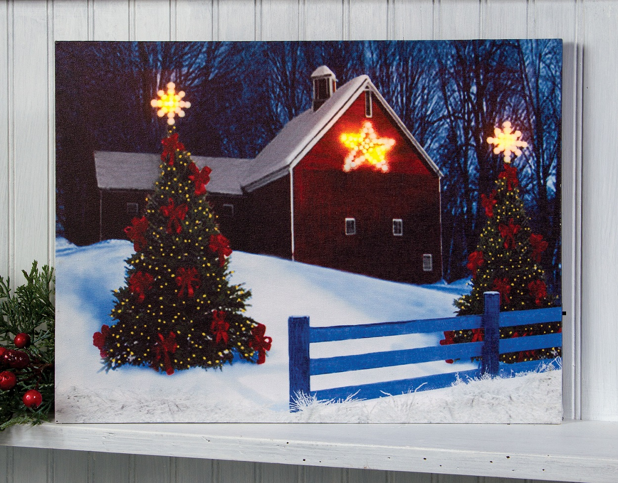 Christmas Barn Lighted Picture | Shelley B Home and Holiday.com