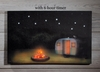 Radiance Lighted Canvas with 6 hour timer Under the Stars Camper small 7.5 in x 12 in