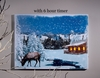 Radiance Lighted Canvas with Timer Winter Lodge with Moose
