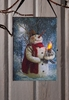 Radiance Lighted Canvas Woodland Snowman Ornament