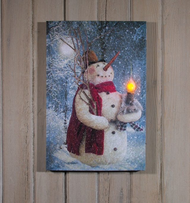 Radiance Lighted Canvas by Ohio Wholesale Woodland Snowman with Candle