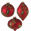 RAZ 6 inch Red Glass Holly Ornament