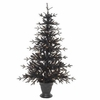 RAZ Black and Bling 4 Foot Pre-Lit Flat Halloween Tree in Urn Stand