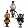 RAZ Black and Bling Pumpkin, Skeleton and Cat Ornament