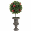 RAZ Boxwood Topiary Ball Tree in Garden Urn with Christmas Ornaments